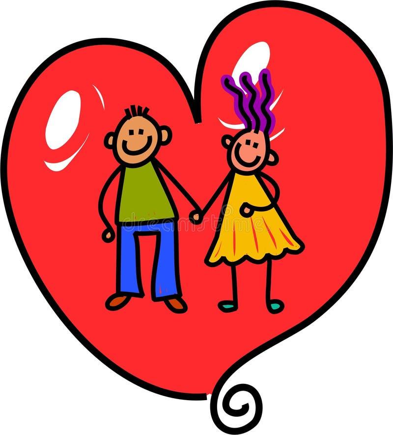 Liebes-Herz-Paare stock abbildung