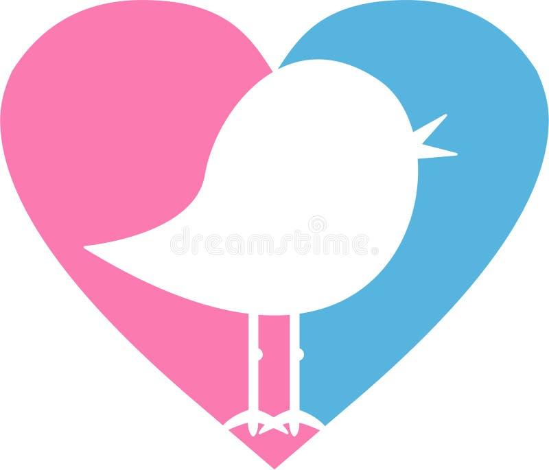 Liebes-Herz-Vogel stock abbildung