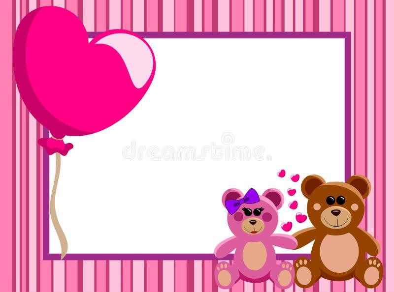 Liebes-horizontaler Rahmen Teddy Bears lizenzfreie abbildung