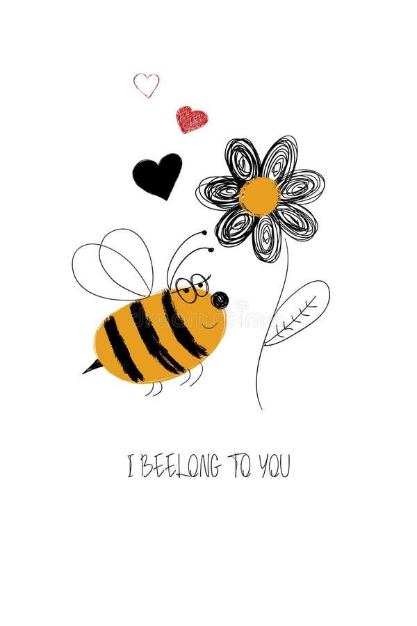 Liebes-Karte mit netter Biene stock abbildung