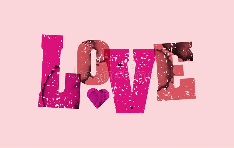 Liebes-Konzept gestempeltes Wort Art Illustration lizenzfreie abbildung