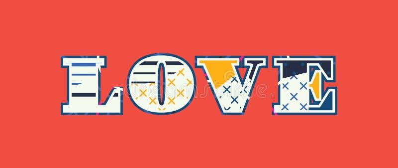 Liebes-Konzept-Wort Art Illustration lizenzfreie abbildung