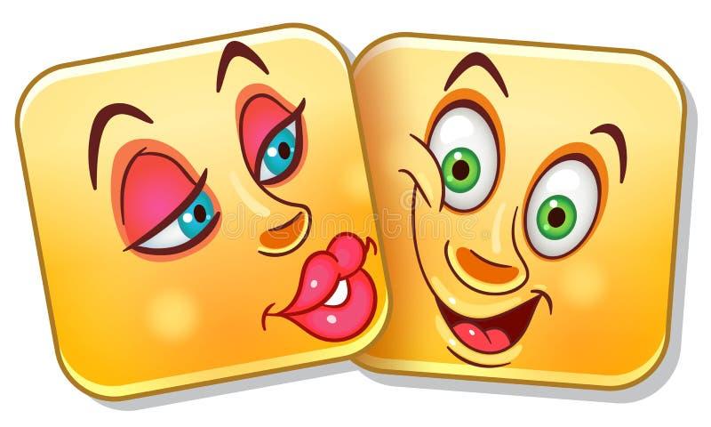 Liebes-Kuss Emoticon stock abbildung