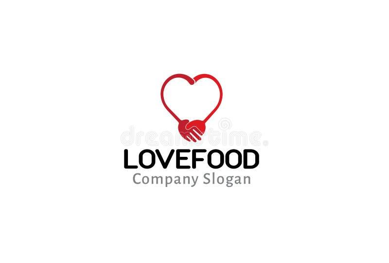 Liebes-Lebensmittel-Logo Symbol Fork Spoon Design-Illustration lizenzfreie abbildung