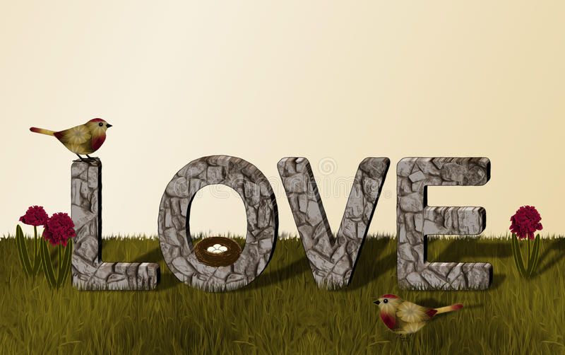Liebes-Steinwand mit Gold und rote Vögel und Blumen vektor abbildung
