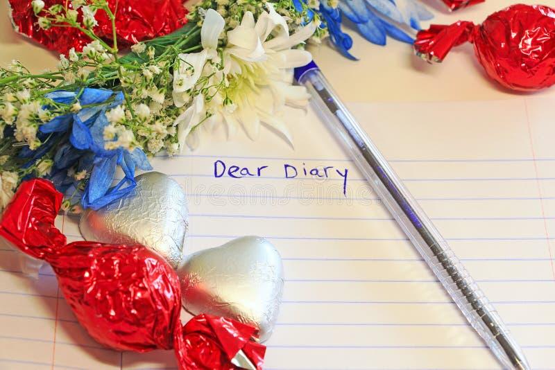 Liebes Tagebuch geschrieben in ein Buch lizenzfreie stockbilder