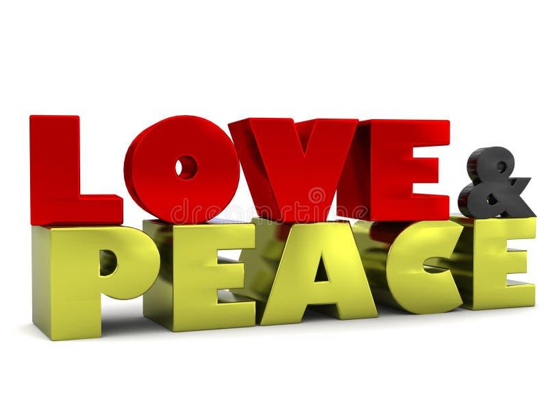 Liebes-u. des Friedens3d Beschriftung vektor abbildung