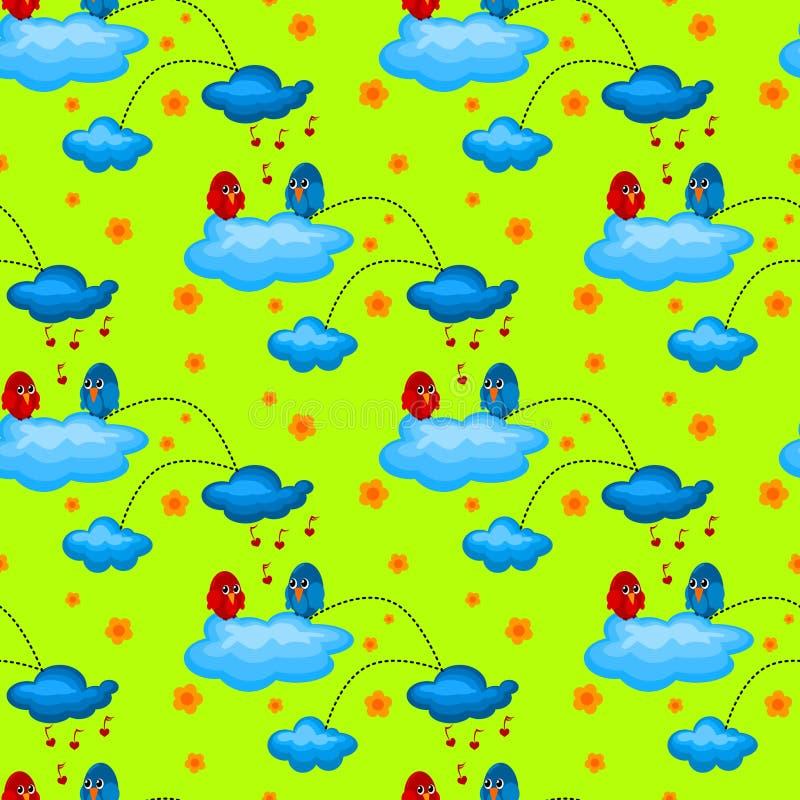 Liebes-Vogel in einem bewölkter Garten-nahtlosen Muster lizenzfreie abbildung