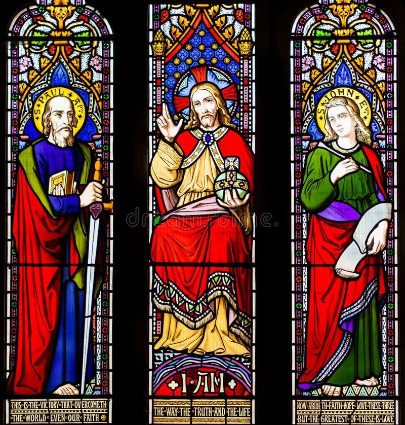 Liebes-Wahrheits-Glauben-Hoffnungs-Buntglas-Fenster stockbild