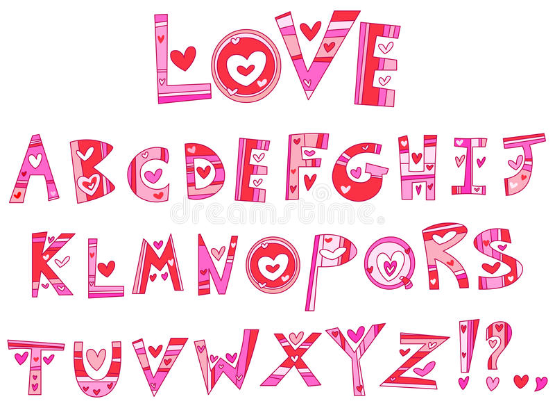 Liebesalphabet stock abbildung