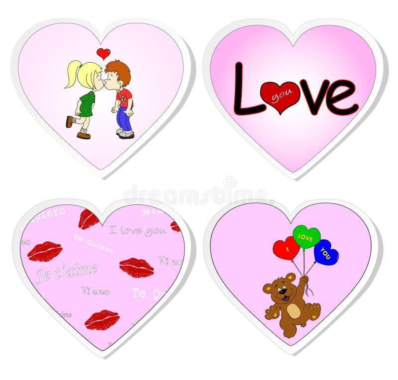 Liebesaufkleber - Set 2 stock abbildung