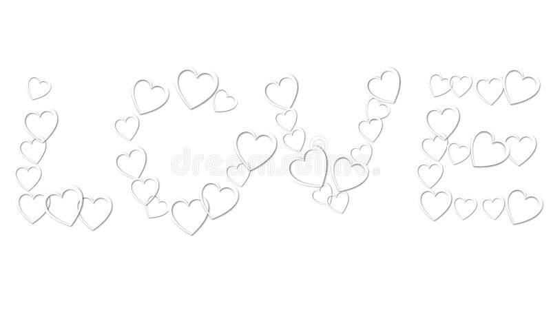 Liebesaufschrift von den weißen festlichen Herzen der schönen Zusammenfassung gemacht von farbigem Papier für glücklichen Heiligv lizenzfreie abbildung