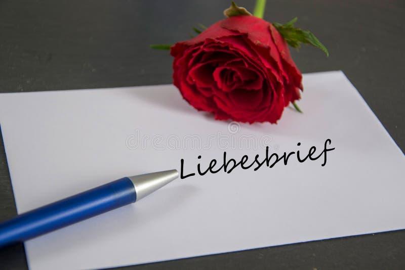 Liebesbrief - Allemand pour la lettre d'amour photos stock