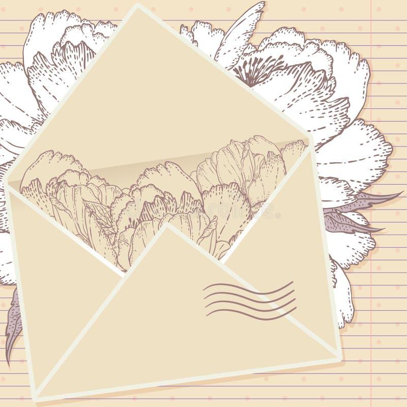 Liebesbrief mit Blumen vektor abbildung