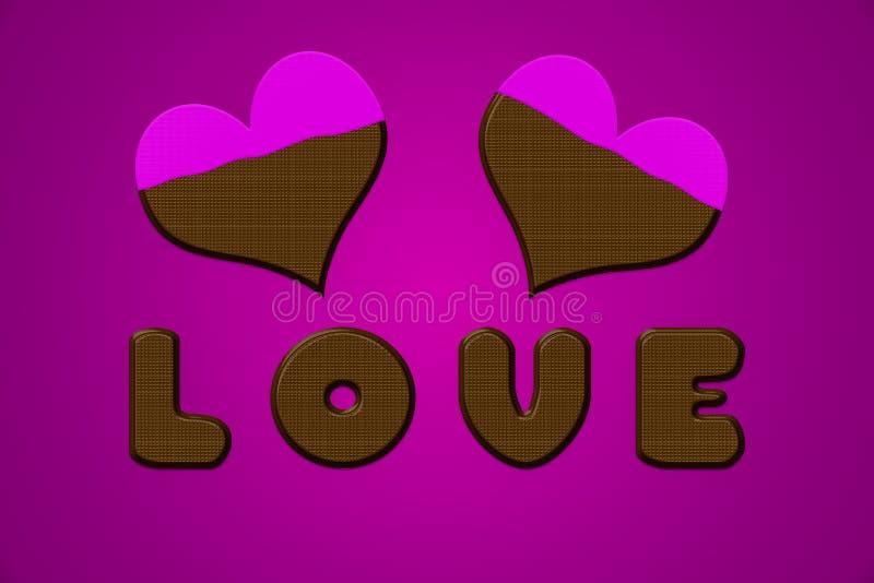 Liebesbriefherzschokoladen-Valentinsgrußrosa vektor abbildung