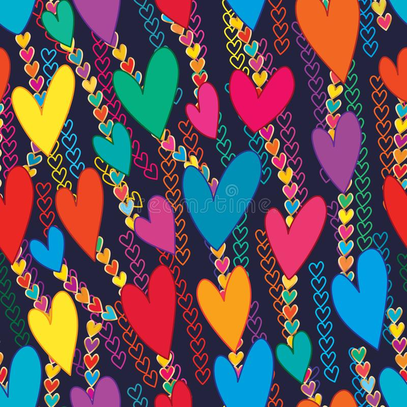 Liebesbuntes Kettenliebe deco nahtloses Muster lizenzfreie abbildung