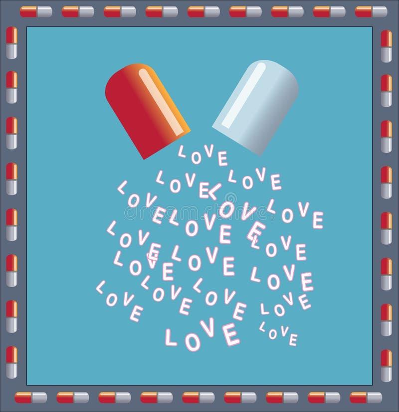 Liebe ist eine Droge vektor abbildung. Illustration von