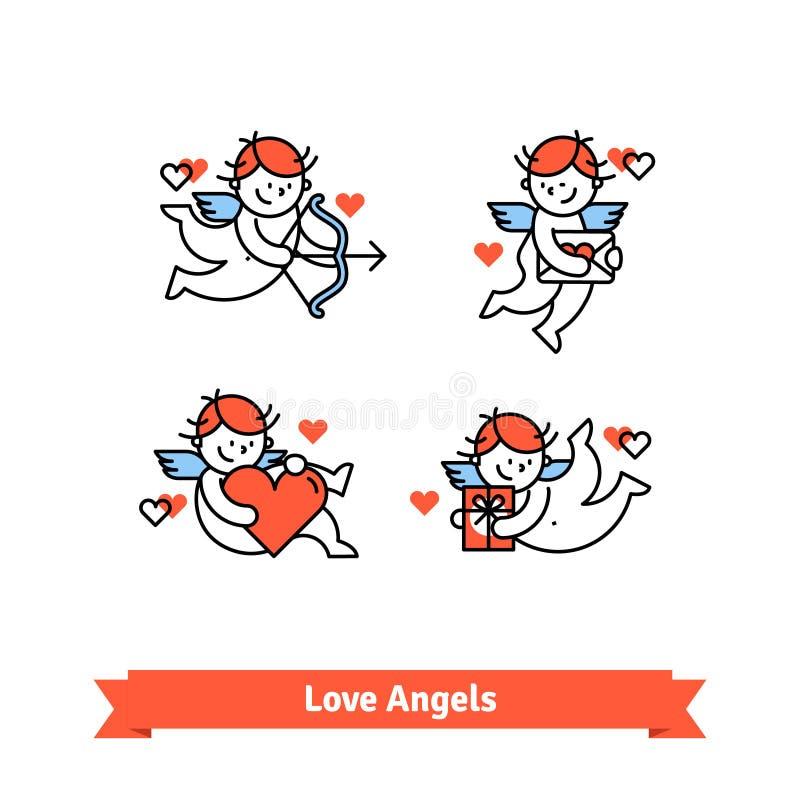 Liebesengel Amorjungen mit Geschenken und Geschenken stock abbildung