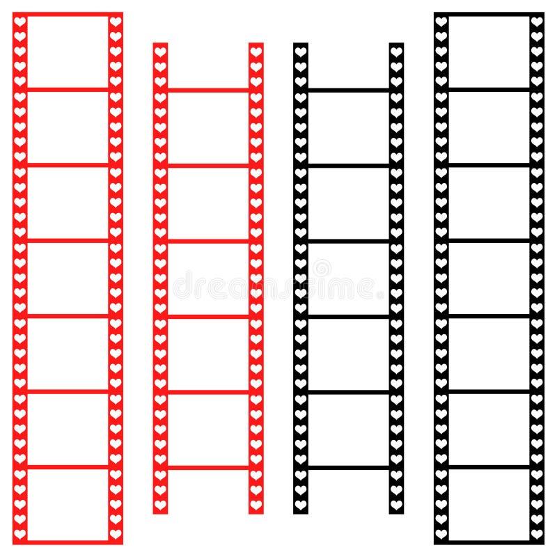 Liebesfilmstreifen mit Herzen vektor abbildung