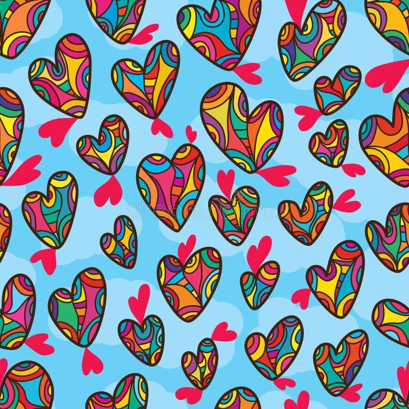 Liebesform-Zeichnungslinie nahtloses Muster des Himmels vektor abbildung