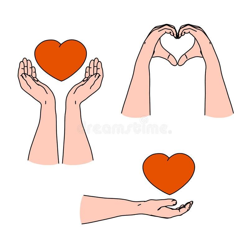 Liebesgefühl, Sorgfalt und Gefühl durch das Gestikulieren mit den Herzformhänden geben vektor abbildung