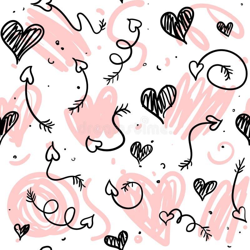 Liebesgekritzelhintergrund mit Herzen und Pfeilen lizenzfreie abbildung