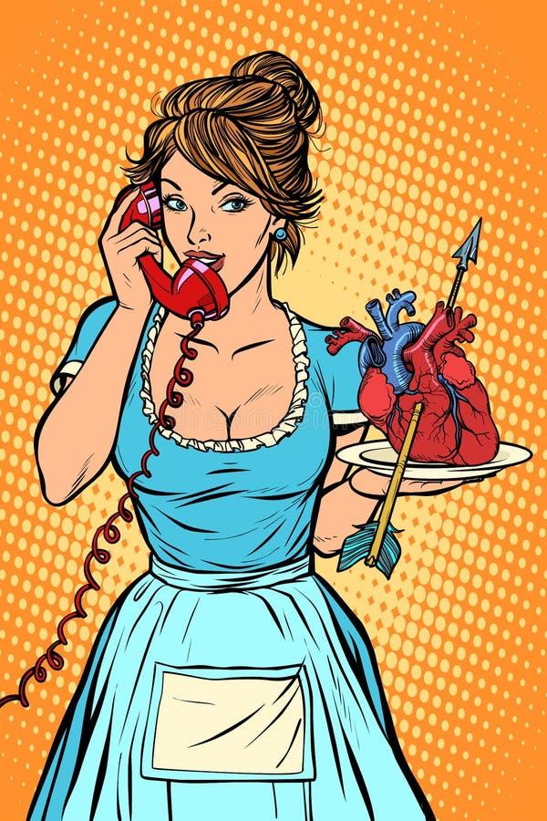 Liebesherz-Pfeil Lieferung weibliches Haushaltungsarbeitskraftmädchen, das Bett mit Bettzeug am Gasthausraum macht kellnerin lizenzfreie abbildung