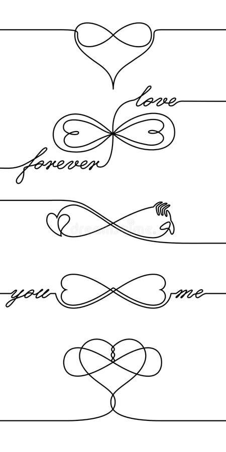 Liebesikonen der Federzeichnung der einzelnen Zeile endlose, eine Linie unbegrenztes Liebessymbol des Valentinsgrußtagesfeiertags vektor abbildung