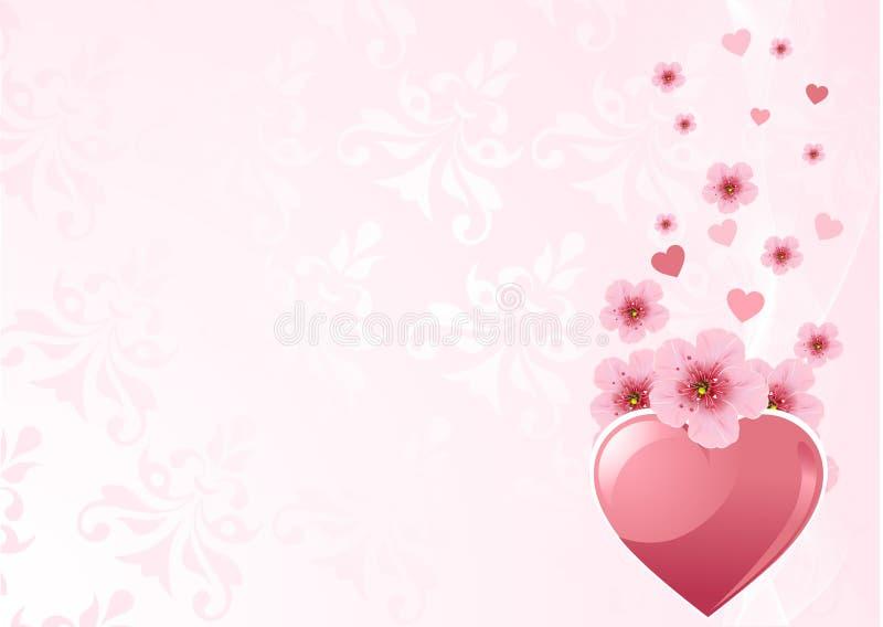Liebesinneres und Kirschblüte stock abbildung