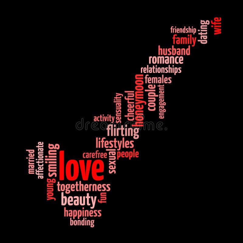 Liebeskonzept-Worttag-cloud lizenzfreie abbildung