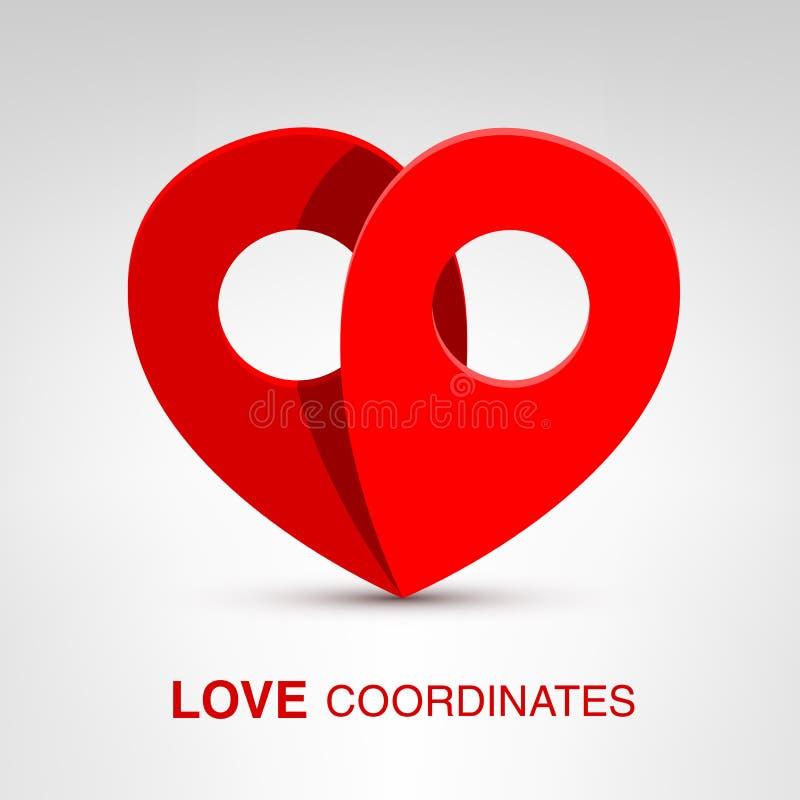 Liebeskoordinaten lizenzfreie abbildung