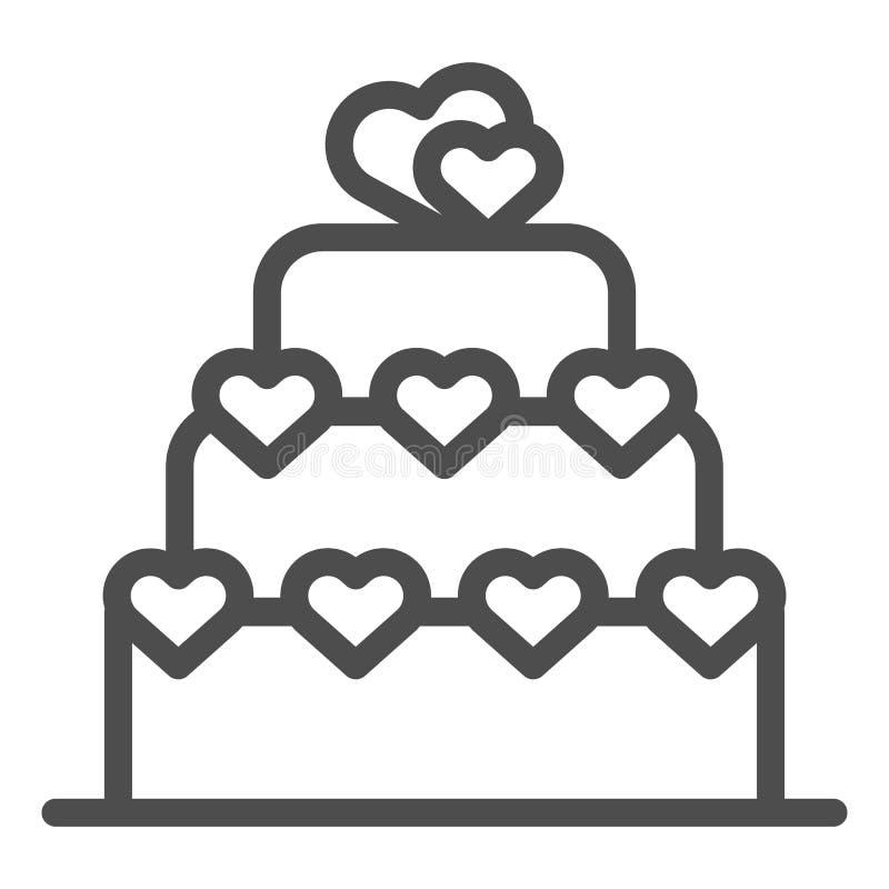Liebeskuchenlinie Ikone Valentinsgrußkuchenzeichen-Vektorillustration lokalisiert auf Weiß Überlagerter Kuchen mit Herzentwurfsar lizenzfreie abbildung