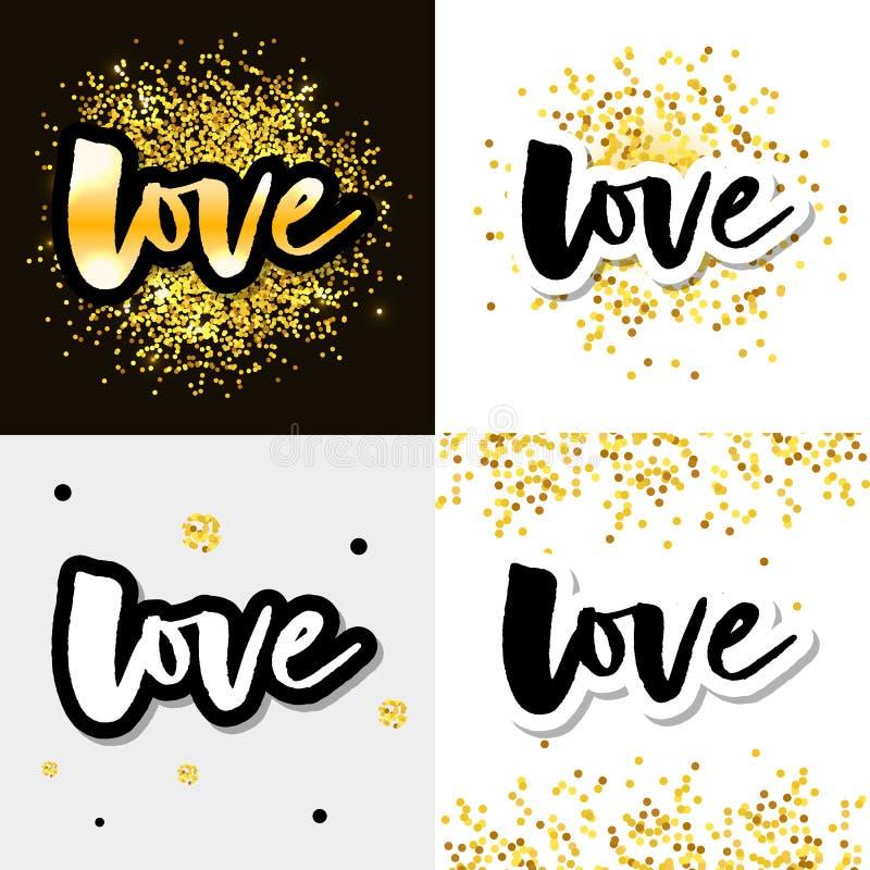 Liebeslogovektorbeschriftungsslogan-Kalligraphiesatz lizenzfreie abbildung