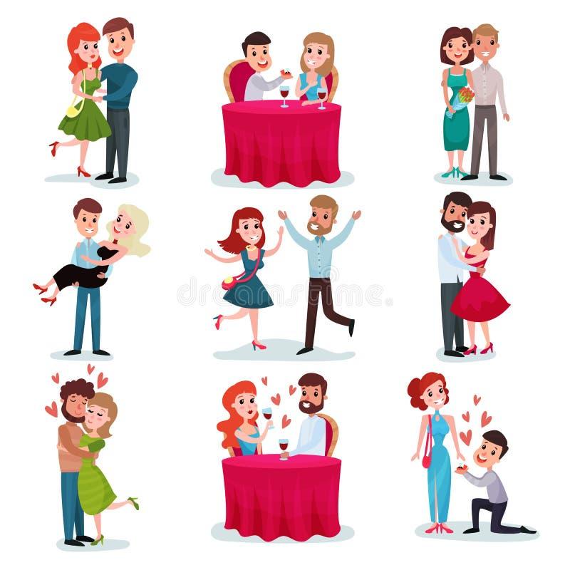 Liebespaare stellten, glückliche Liebhaber auf Datum, am romantischen Abendessen ein und umarmten und tanzen Karikaturvektor Illu lizenzfreie abbildung