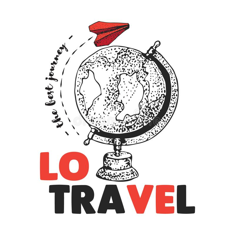 Liebesreise Rotes Papierflugzeug fliegt auf der ganzen Welt Die beste Reise Erde Kugel Flugzeuge Lokalisiertes Vektorgekritzel stock abbildung