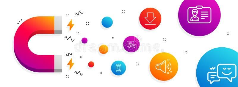 Liebesschwätzchen, Downloading- und Ideenlampenikonensatz Lauter Ton, Ausweiskarte und glückliche Gefühlzeichen Vektor lizenzfreie abbildung