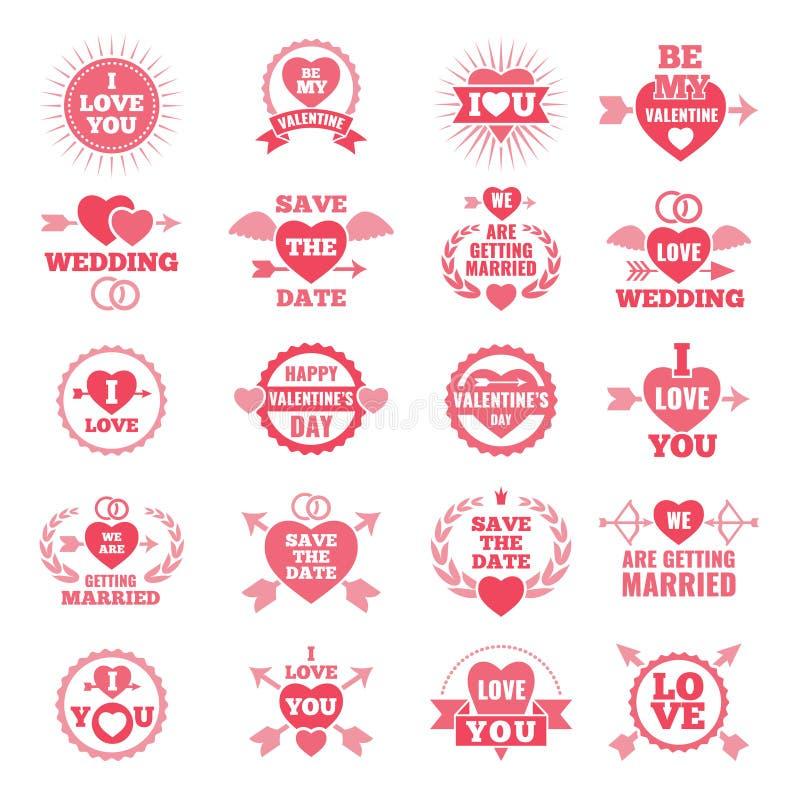 Liebessymbole für Hochzeitstag Einfarbige Ausweise vektor abbildung