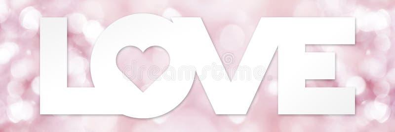 Liebestext mit dem Herzen auf Rosa verwischt lizenzfreie abbildung
