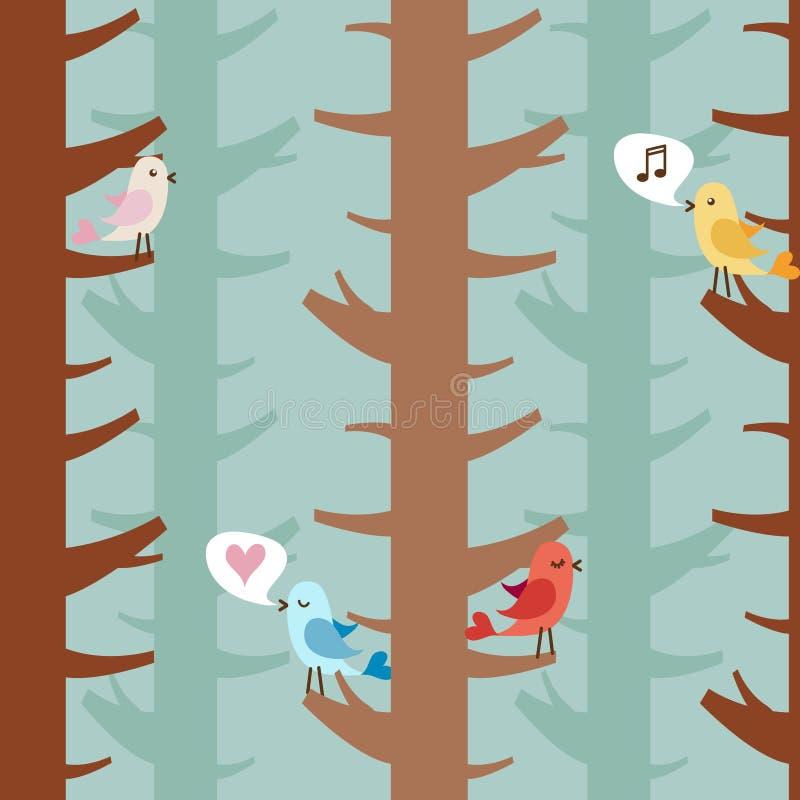 Liebesvögel auf Bäumen vektor abbildung