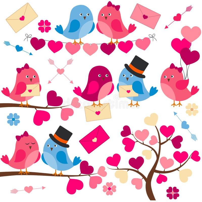 Liebesvögel und ein Baum vektor abbildung