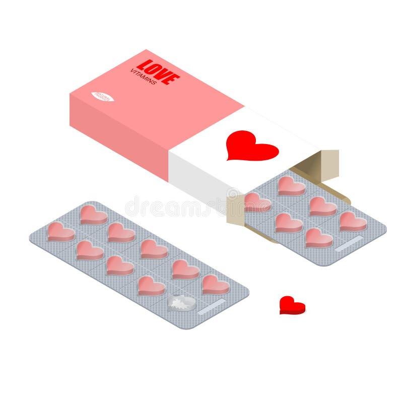 Liebesvitamine Liebhaberpillen Tabletten im Satz Naturprodukte FO vektor abbildung