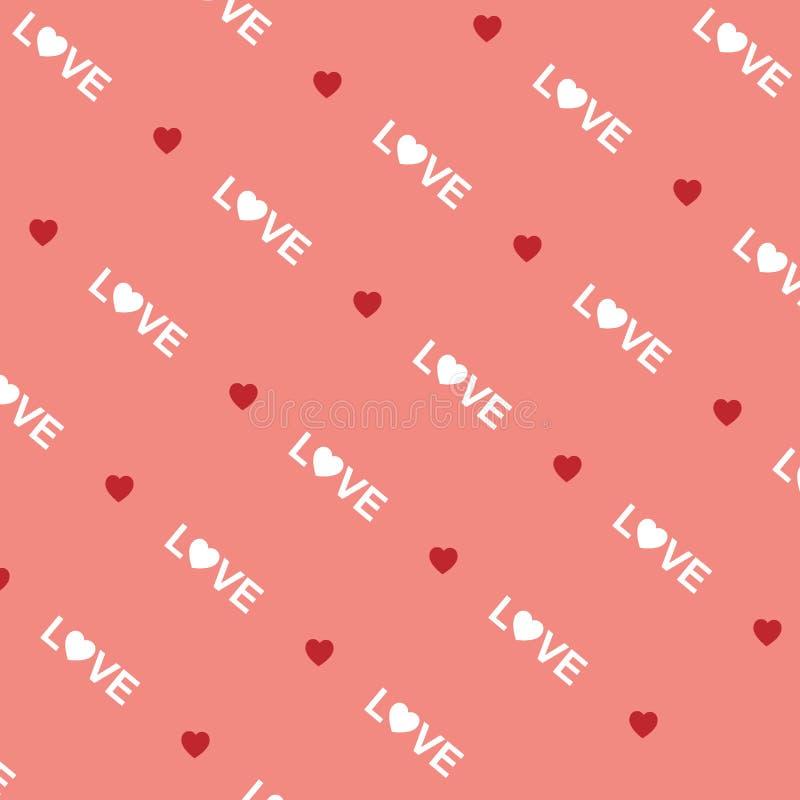 Liebeswörter und -herz auf rosa Hintergrund lizenzfreie abbildung
