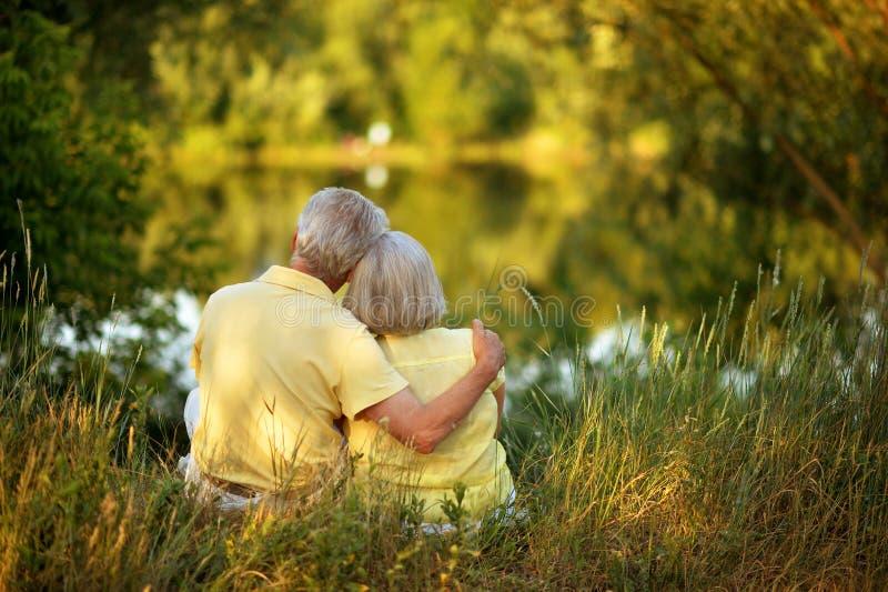 Liebevolle ältere Paaraufstellung stockbilder