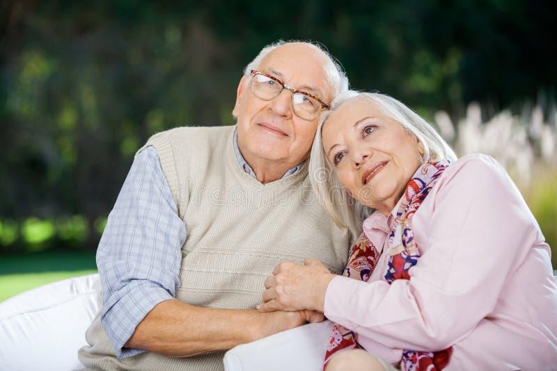 Liebevolle ältere Paare, die auf Stühlen sitzen lizenzfreies stockfoto
