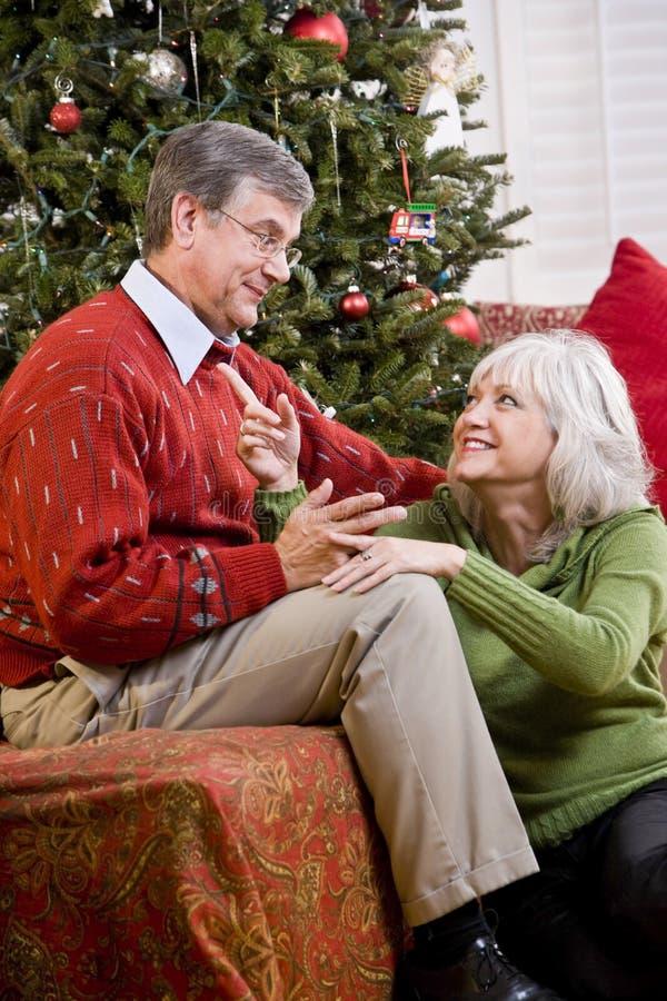 Liebevolle ältere Paare, die durch Weihnachtsbaum sprechen lizenzfreie stockfotografie