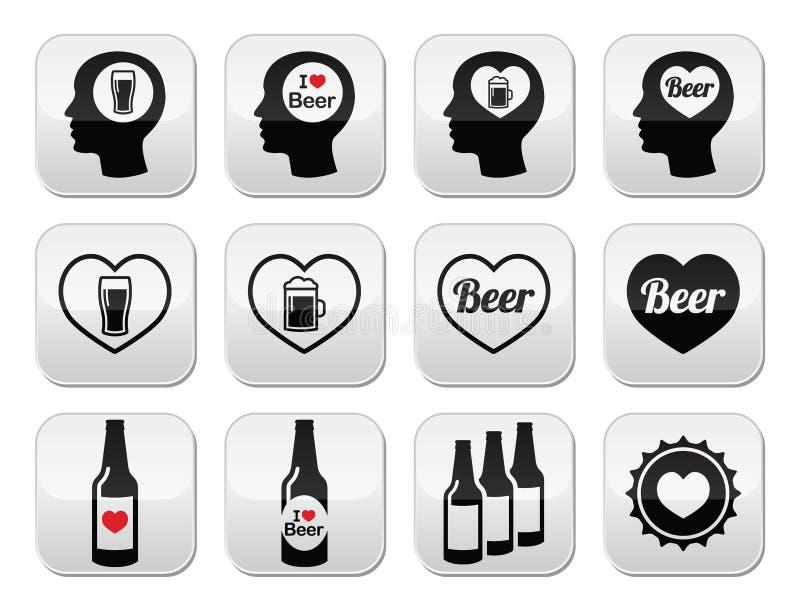 Liebevolle Bierknöpfe des Mannes eingestellt lizenzfreie abbildung