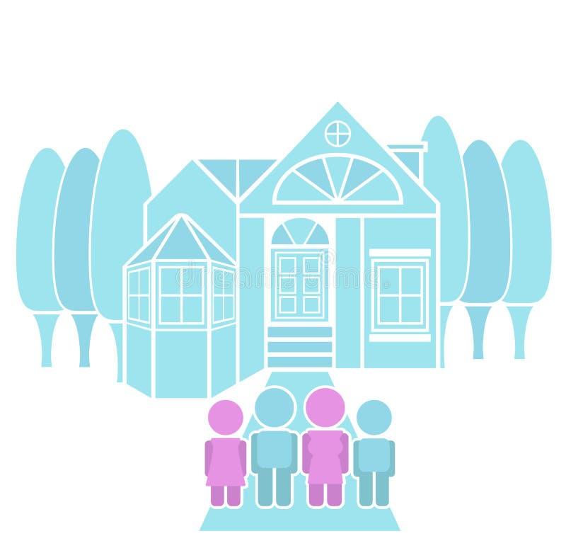 Liebevolle Familien-Porträt-Traumhaus-Illustration lizenzfreie abbildung