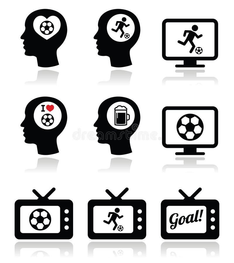Liebevolle Fußball- oder Fußballikonen des Mannes eingestellt stock abbildung