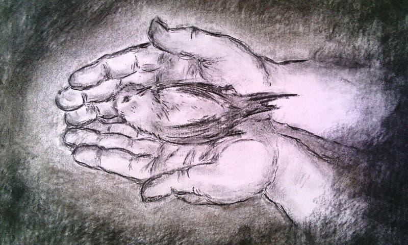 Liebevolle Hände Hand gezeichnete Kohlenstofftechnik lizenzfreie stockbilder