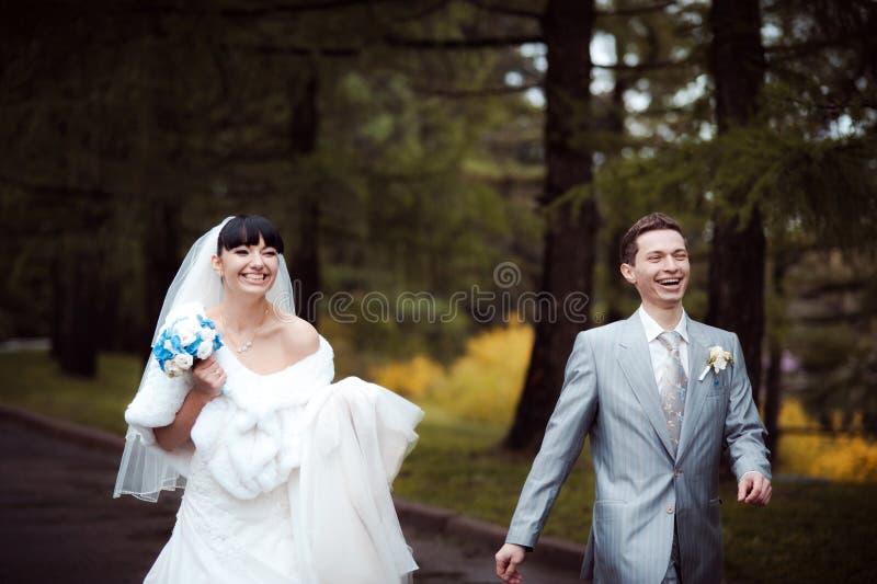 Liebevolle Hochzeitspaare auf einem Weg im Park lizenzfreies stockfoto